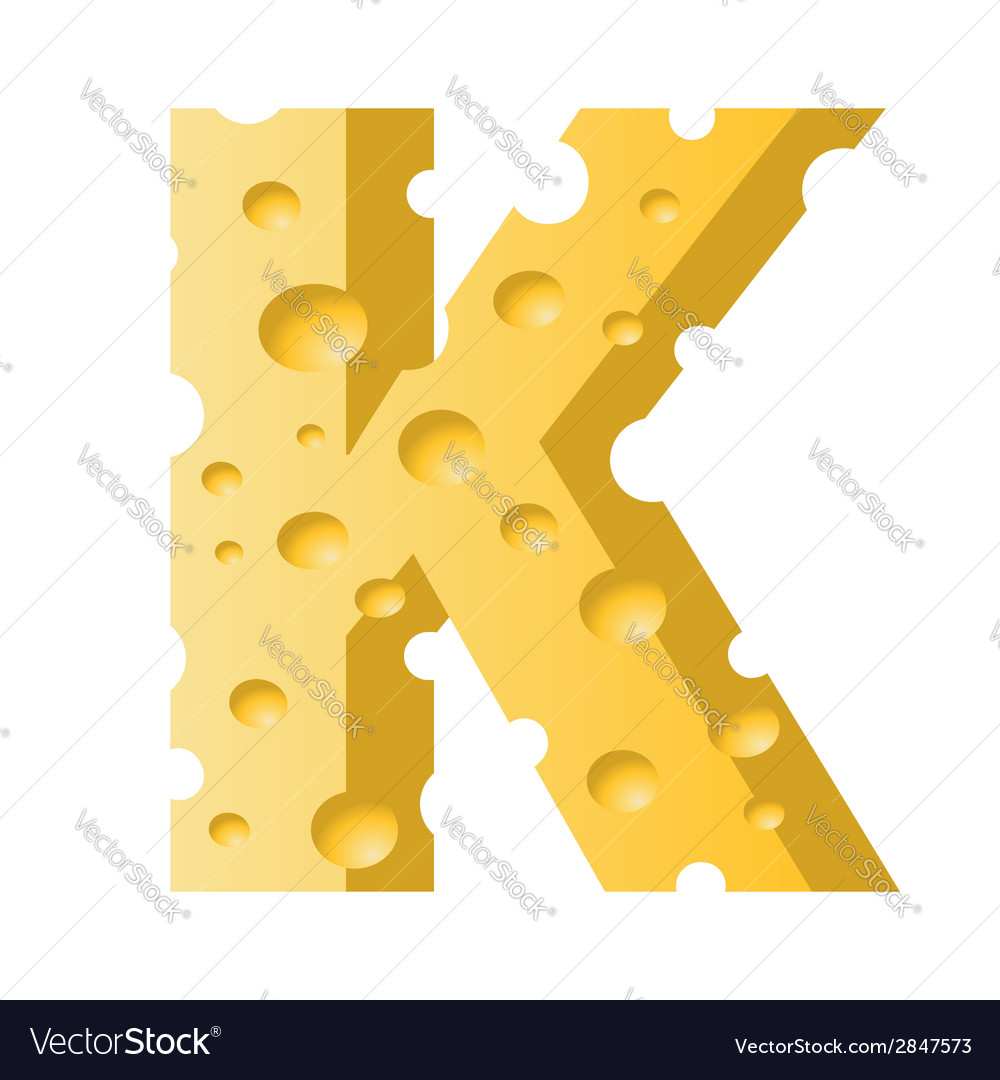 Cheese letter k vector | Price: 1 Credit (USD $1)