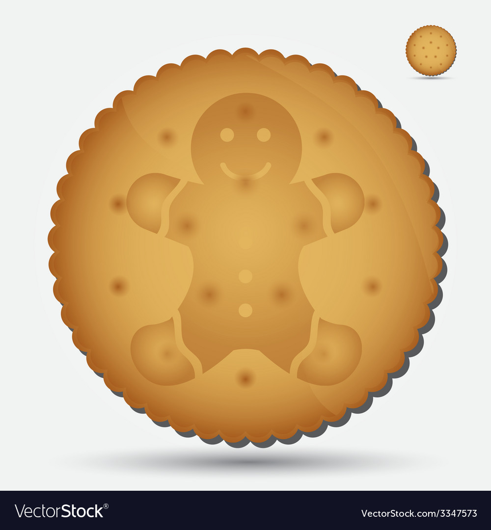 Christmas brown biscuit with gingerbread symbol vector | Price: 1 Credit (USD $1)