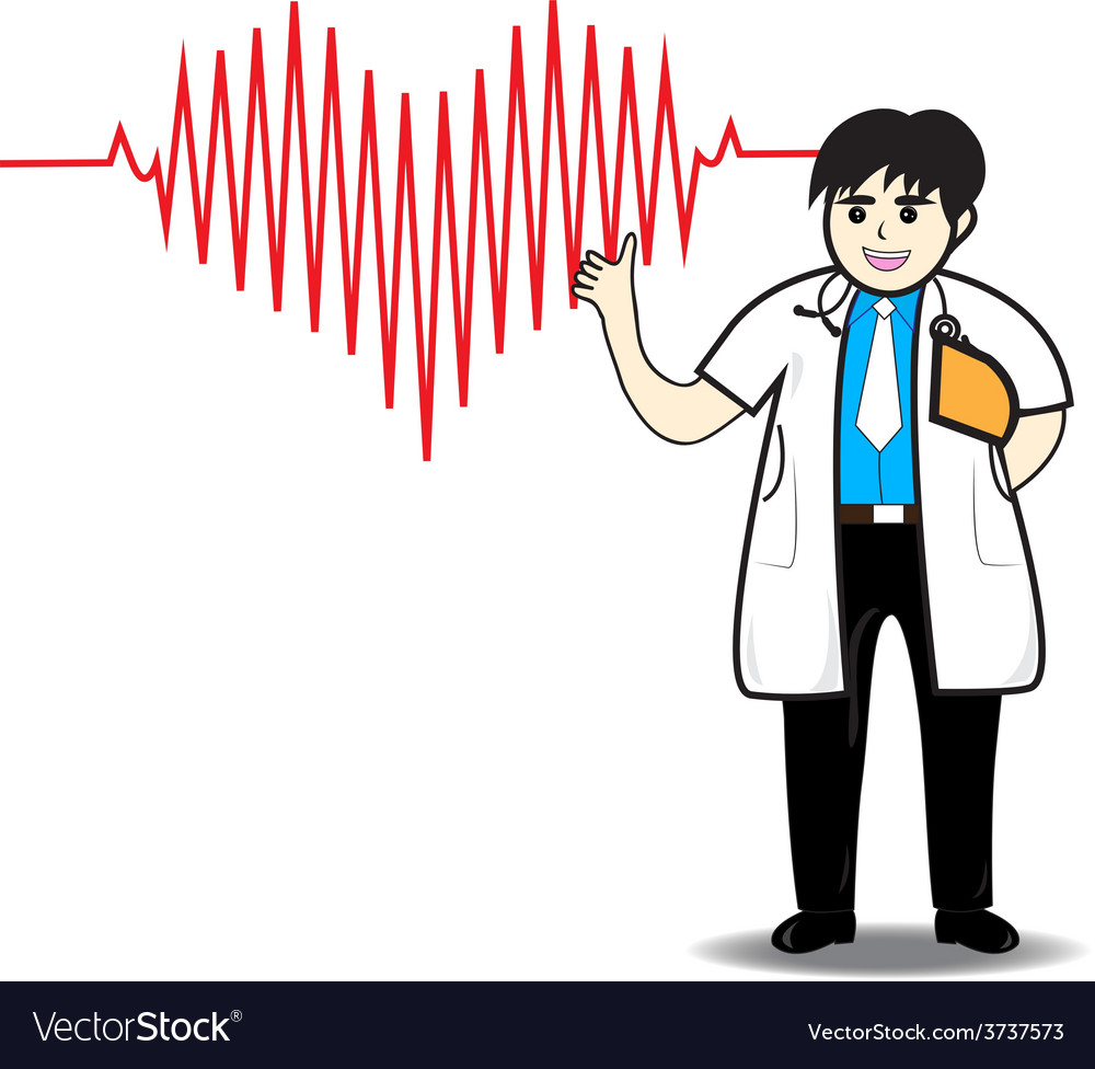 Doctor man red heart beats with cardiogram vector | Price: 1 Credit (USD $1)