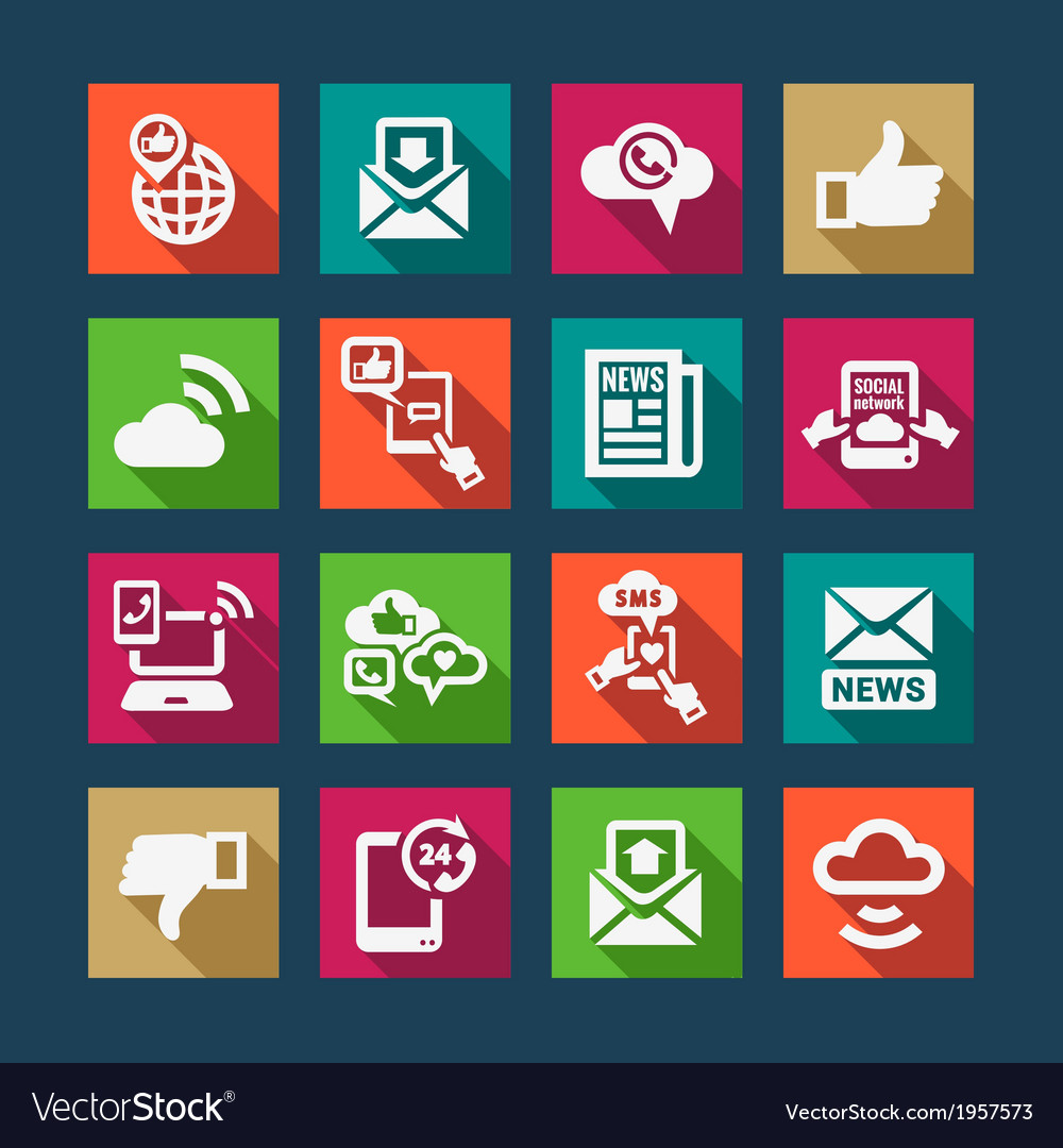 Flat communication icons set vector | Price: 1 Credit (USD $1)