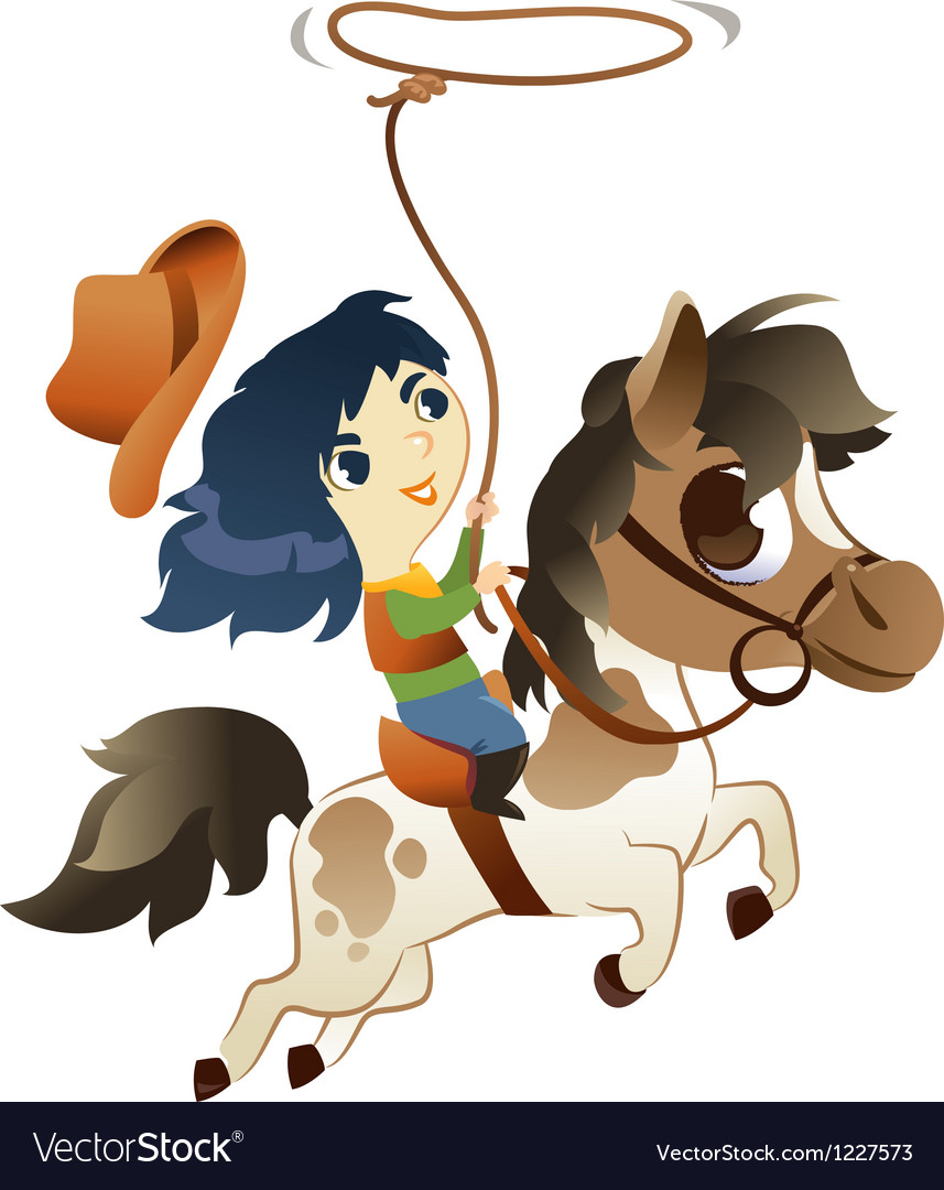 Girl on small horse with lasso vector | Price: 3 Credit (USD $3)