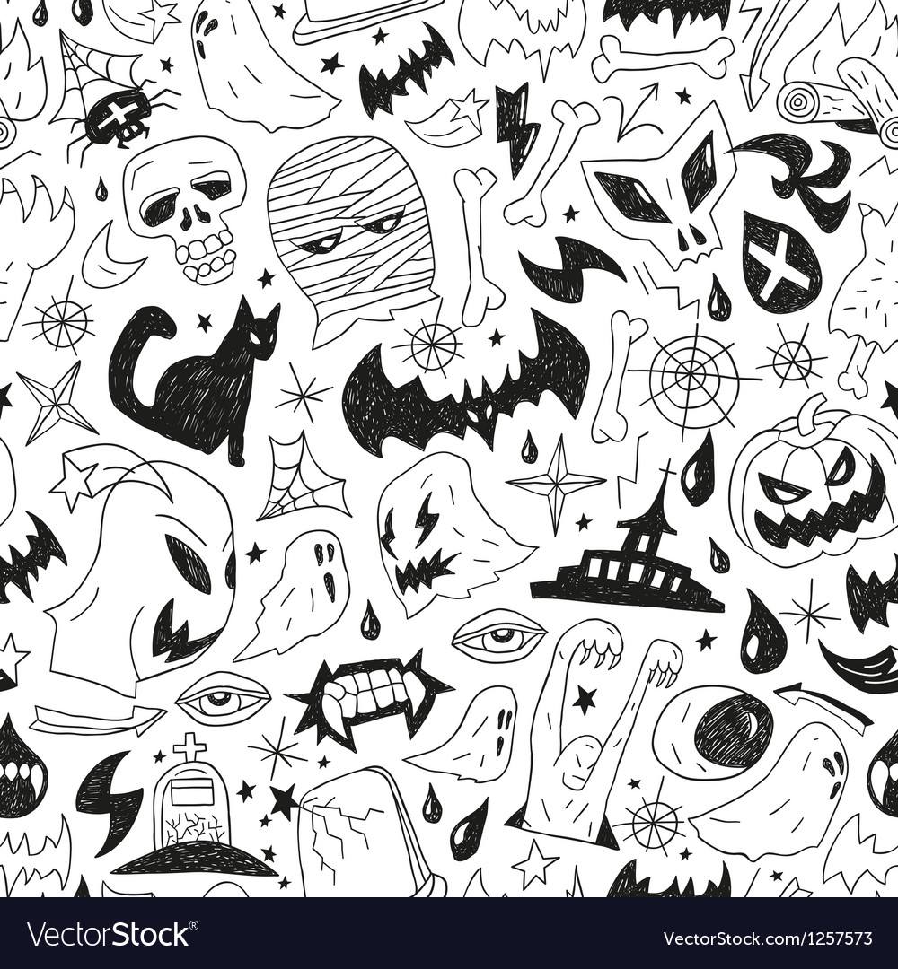 Halloween monsters - seamless background vector | Price: 1 Credit (USD $1)