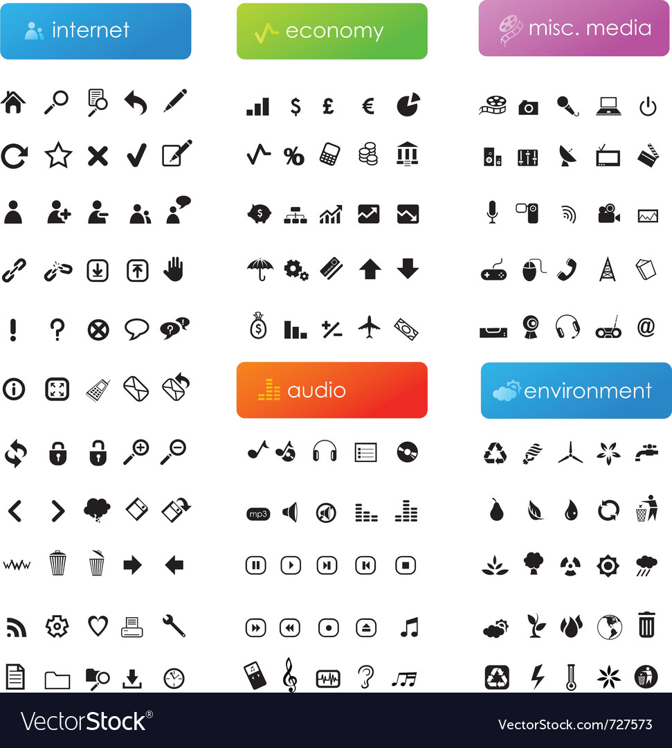 Large icon set vector | Price: 1 Credit (USD $1)