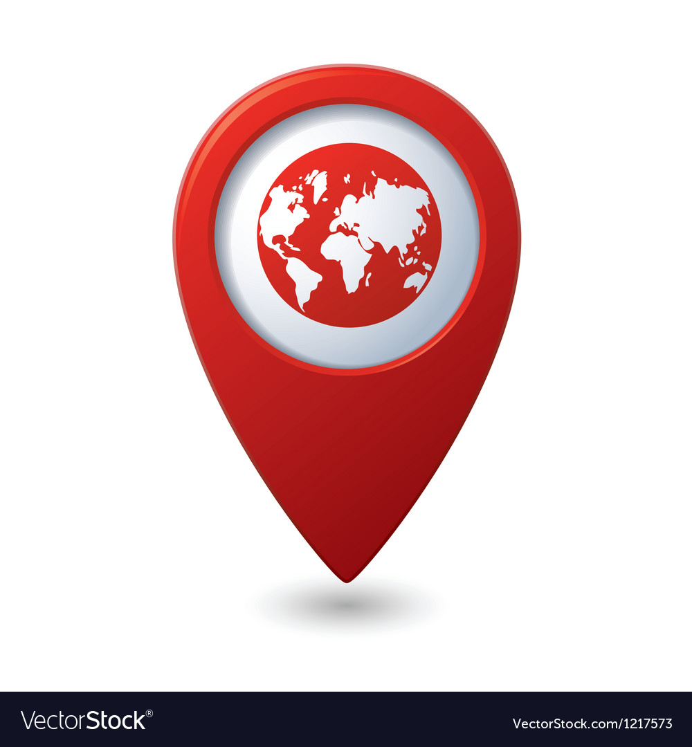 Map pointer with earth globe icon vector | Price: 1 Credit (USD $1)
