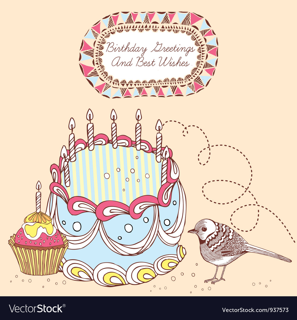 Retro doodle birthday cake card vector | Price: 1 Credit (USD $1)