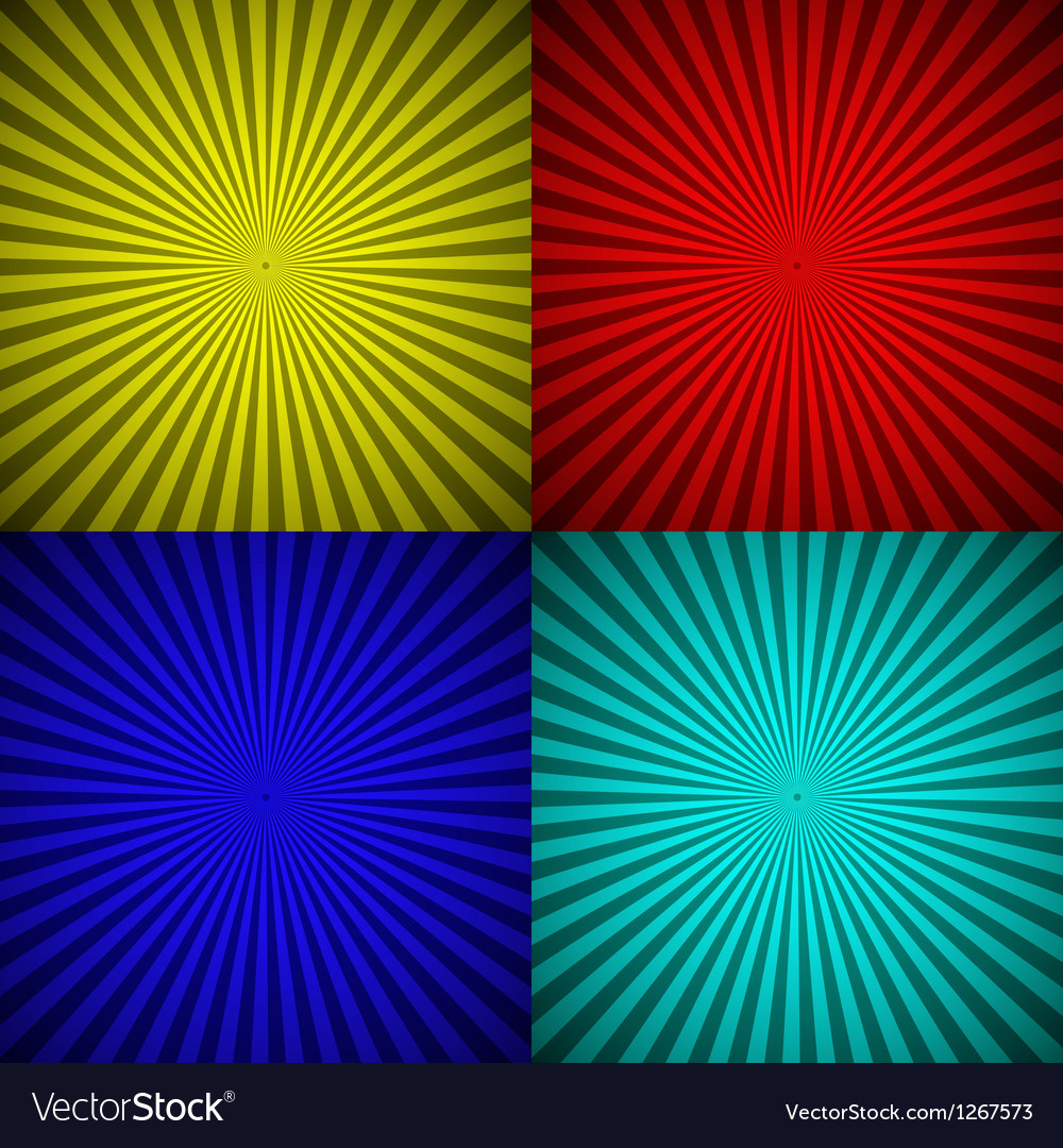 Set of colourful radial rays abstract background vector | Price: 1 Credit (USD $1)