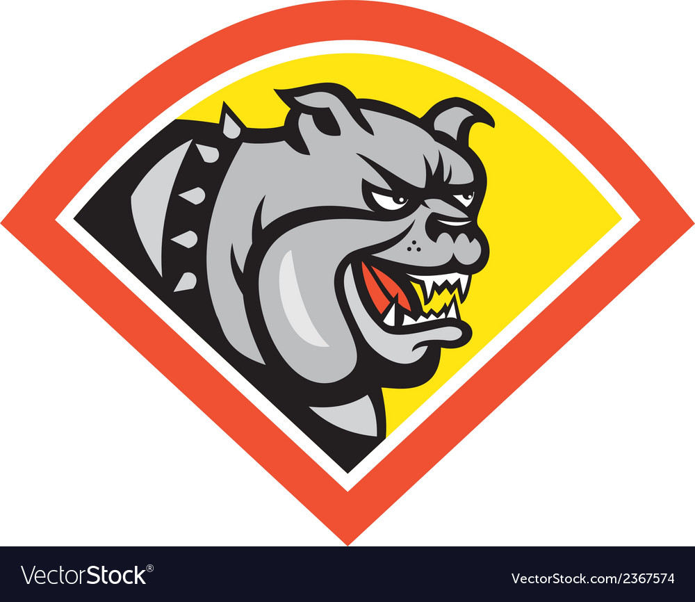 Angry bulldog mongrel head diamond cartoon vector | Price: 1 Credit (USD $1)