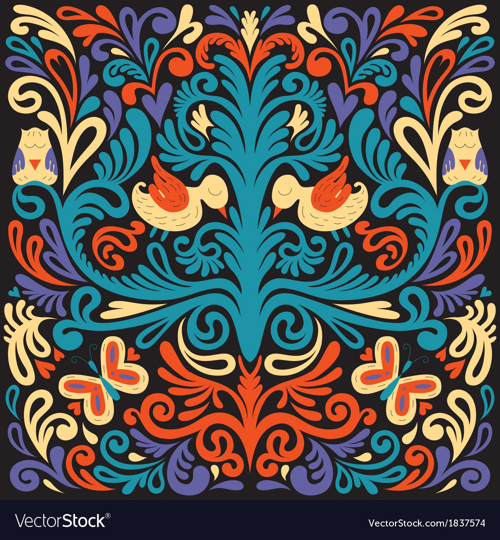Beautiful colored floral pattern with owl vector | Price: 1 Credit (USD $1)