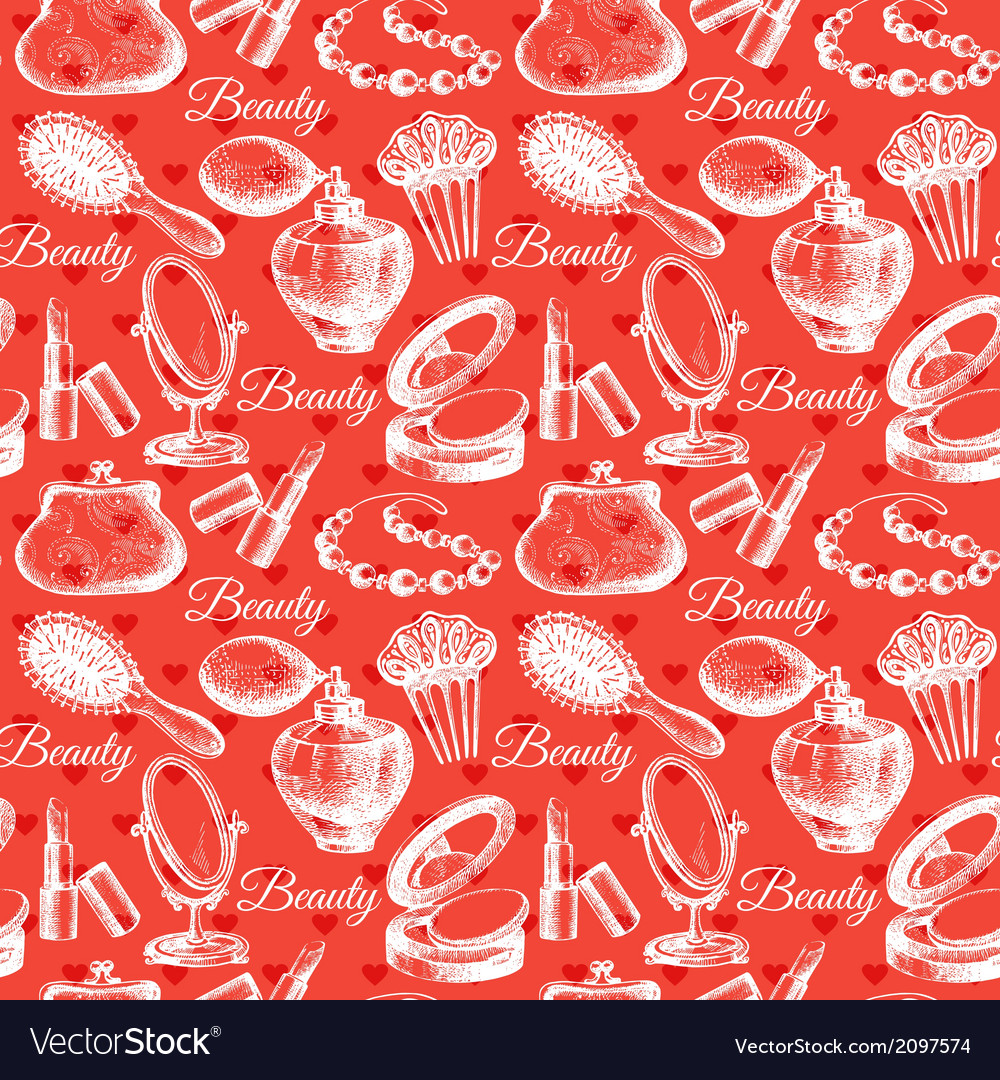 Beauty seamless pattern cosmetic accessories vector | Price: 1 Credit (USD $1)