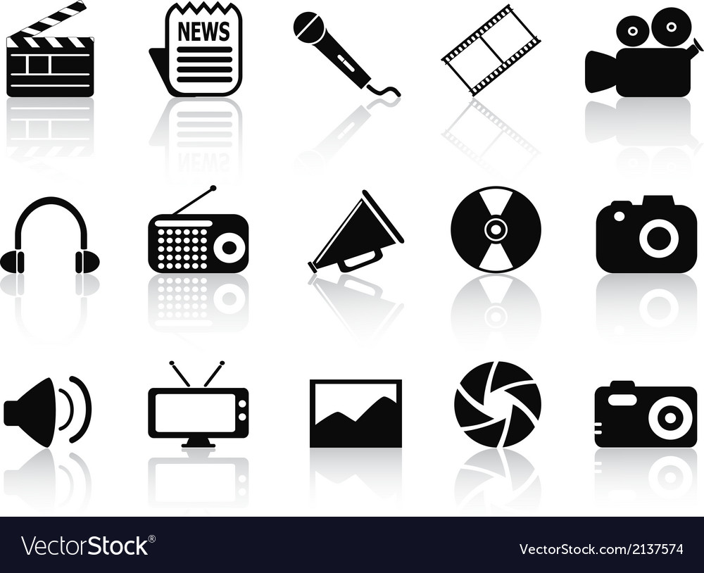 Black multimedia icons set vector | Price: 1 Credit (USD $1)