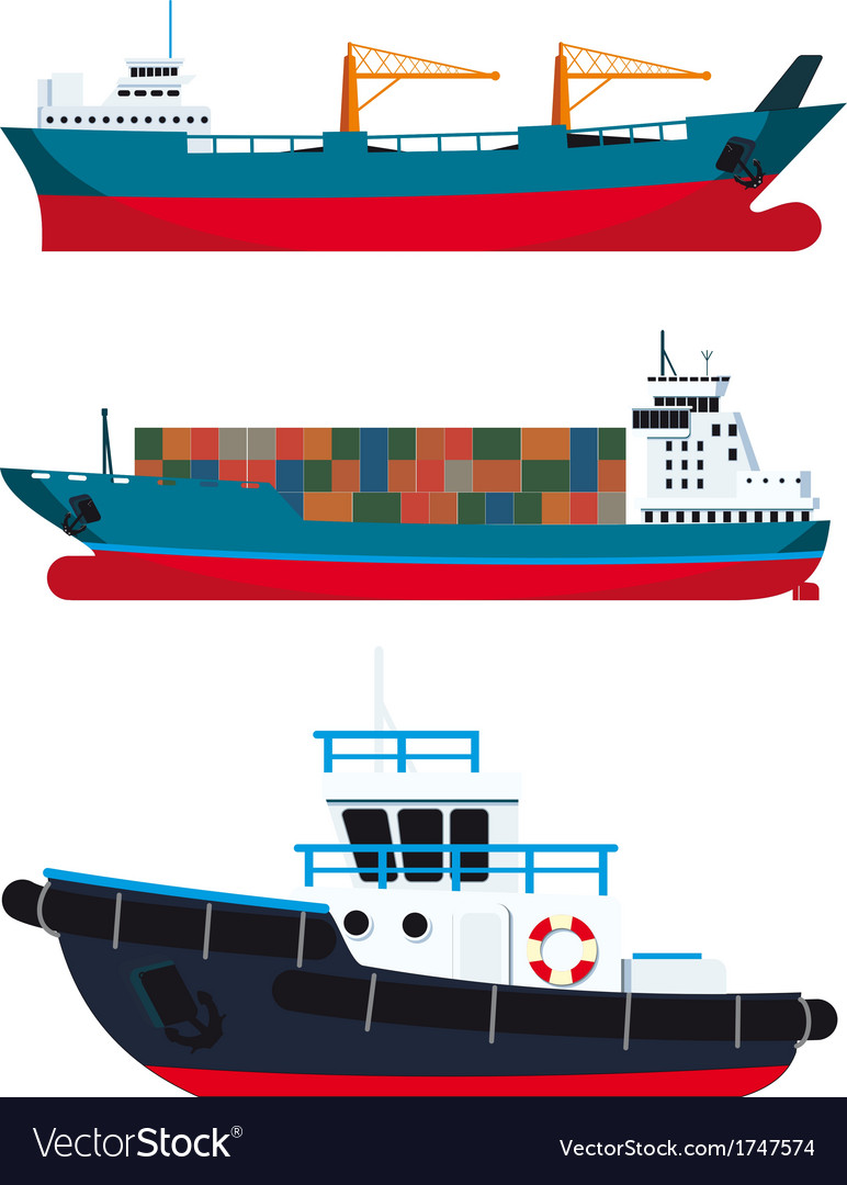 Cargo vessels and tugboat vector | Price: 1 Credit (USD $1)