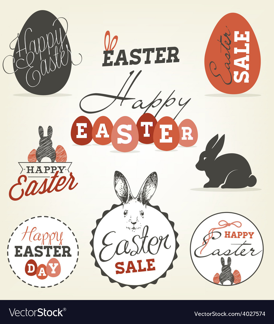 Easter greeting card design elements vector | Price: 1 Credit (USD $1)
