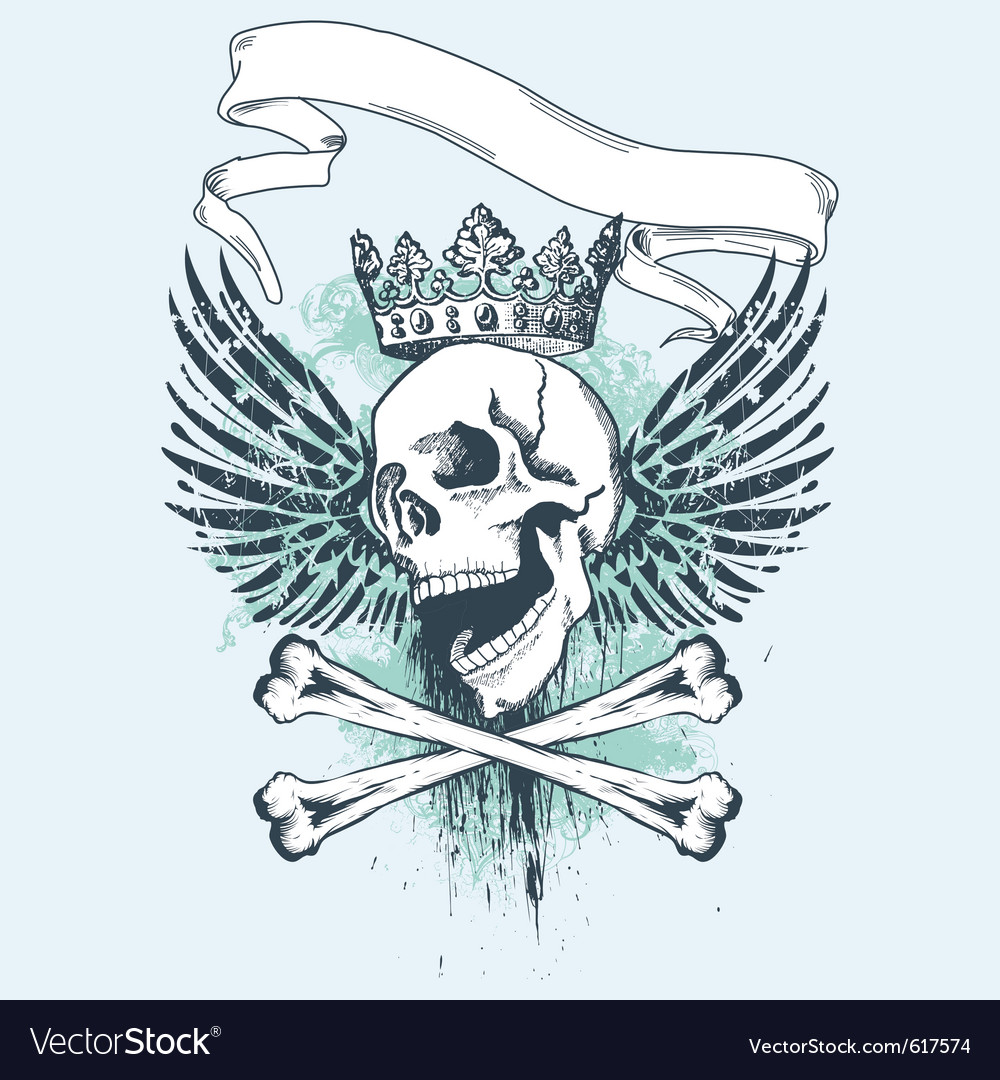 Grunge skull apparel design vector | Price: 1 Credit (USD $1)