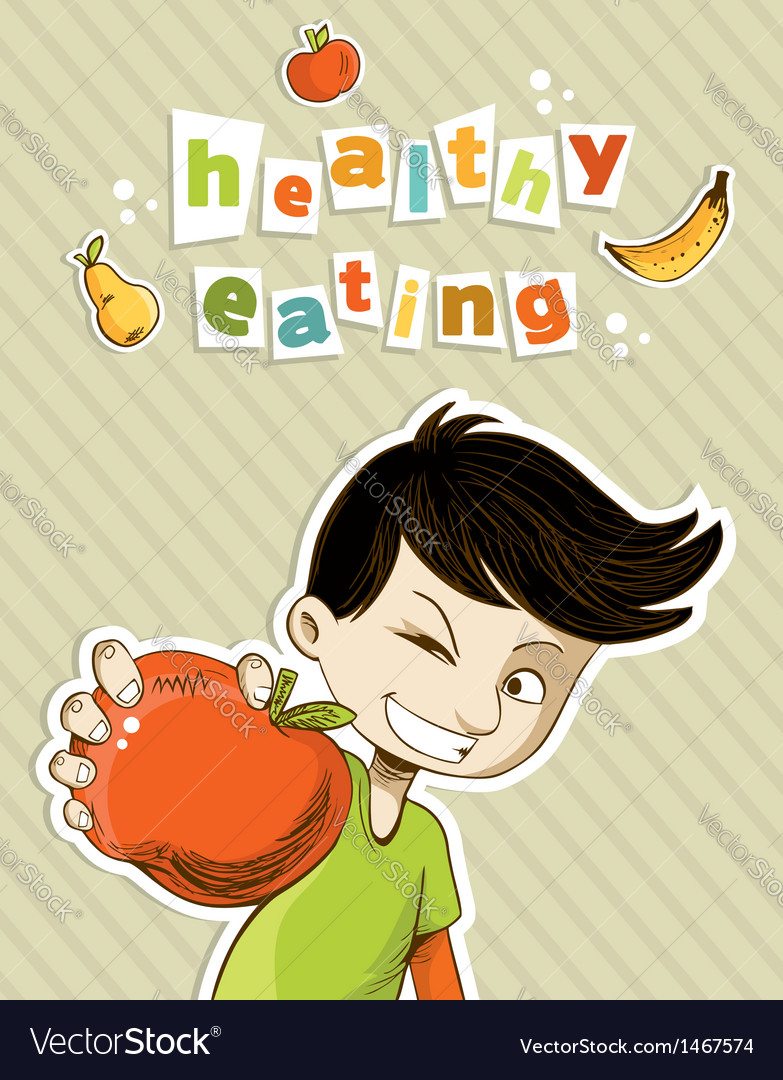 Happy teenager present healthy food vector | Price: 1 Credit (USD $1)