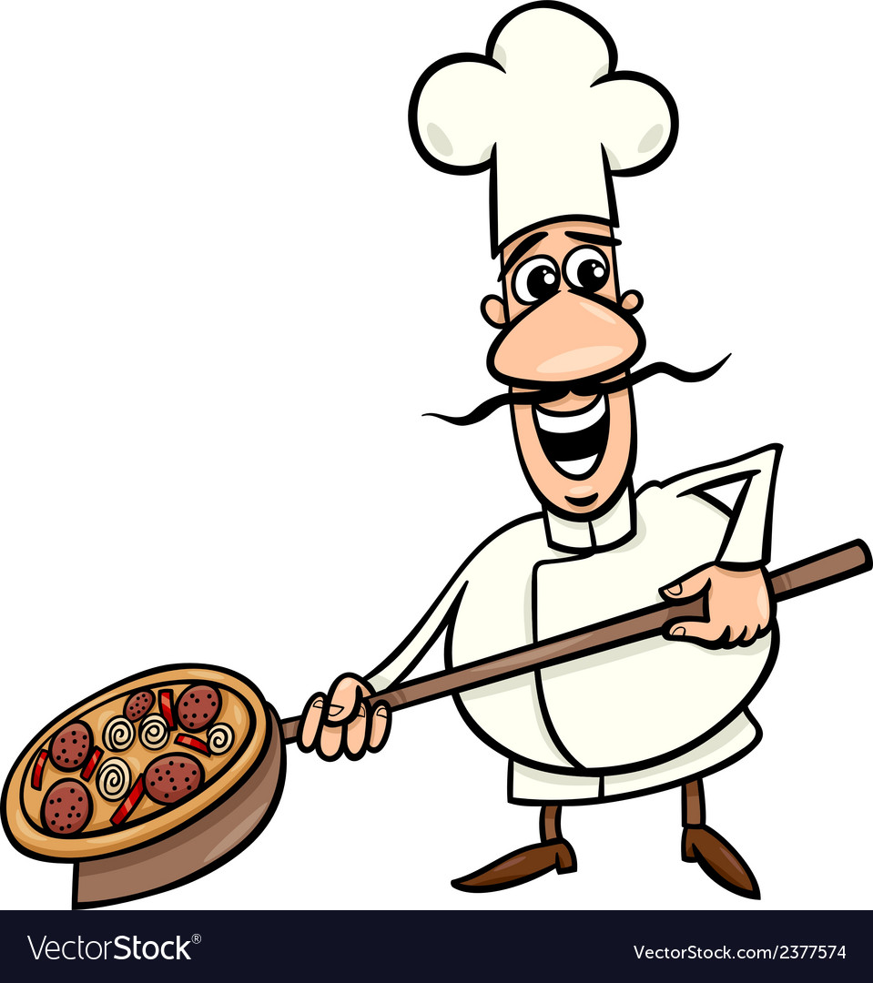 Italian cook with pizza cartoon vector | Price: 1 Credit (USD $1)