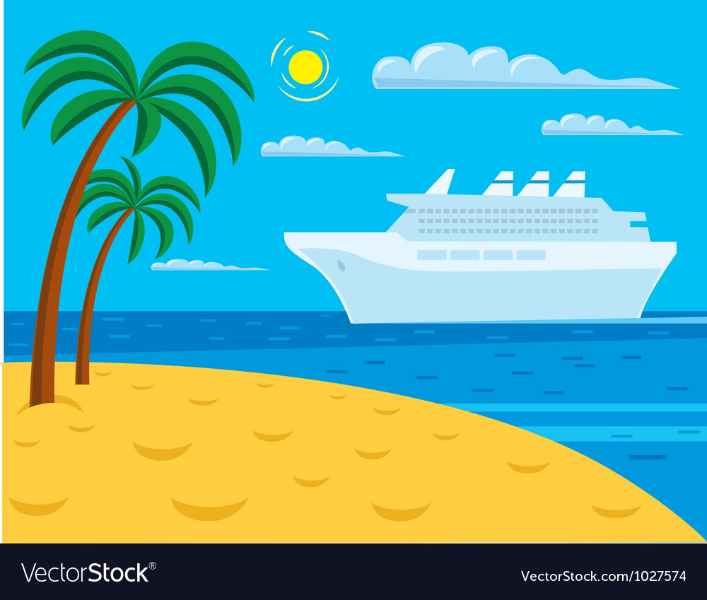 Passenger cruise liner near tropical beach vector | Price: 1 Credit (USD $1)