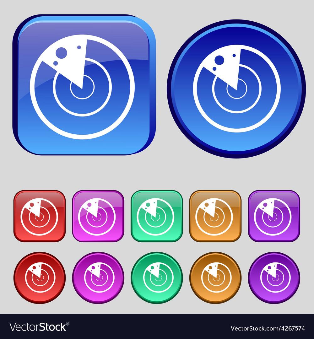 Radar icon sign a set of twelve vintage buttons vector | Price: 1 Credit (USD $1)