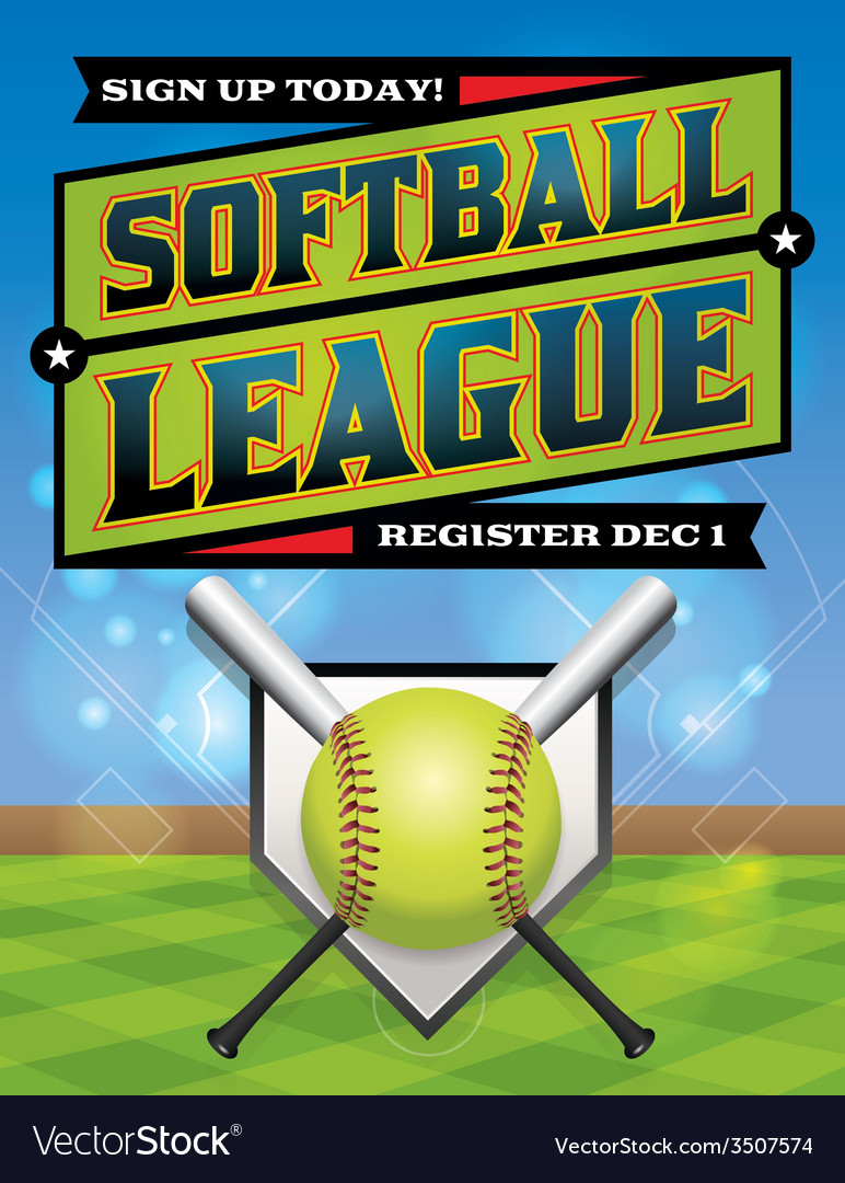Softball league banner vector | Price: 1 Credit (USD $1)