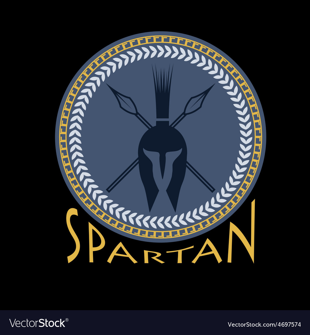 Spartan helmet with spears and shield vector | Price: 1 Credit (USD $1)