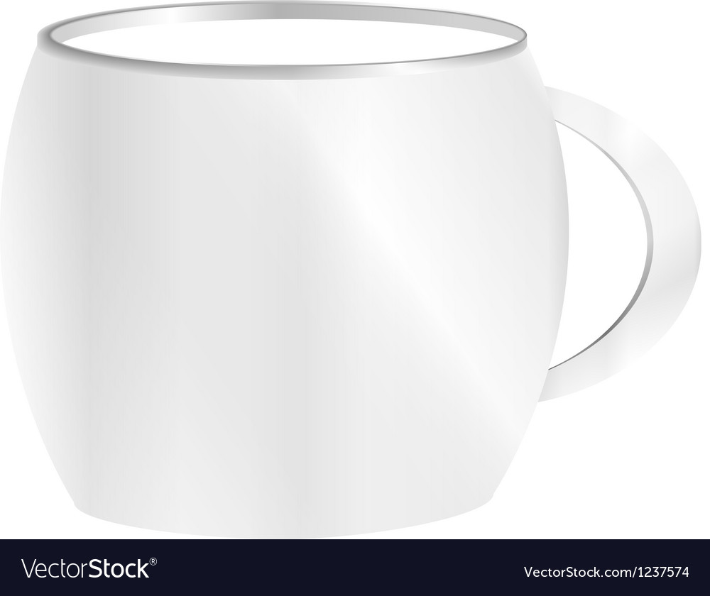 Tea cup isolated on white front view vector | Price: 1 Credit (USD $1)