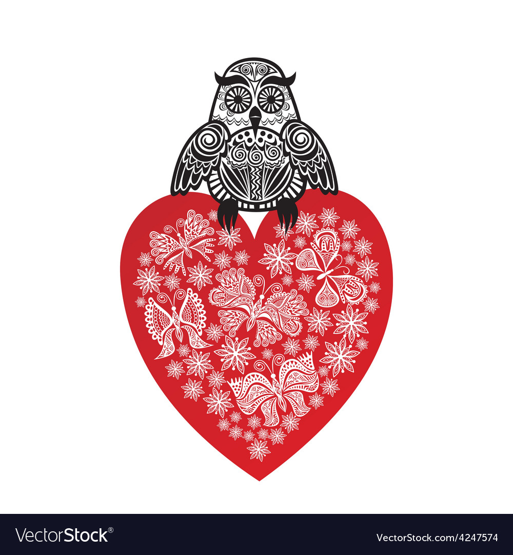 Valentines day card owl and red heart vector | Price: 1 Credit (USD $1)