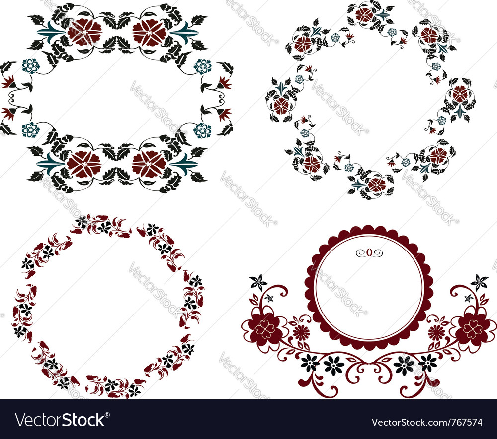 Vintage floral frame set vector | Price:  Credit (USD $)
