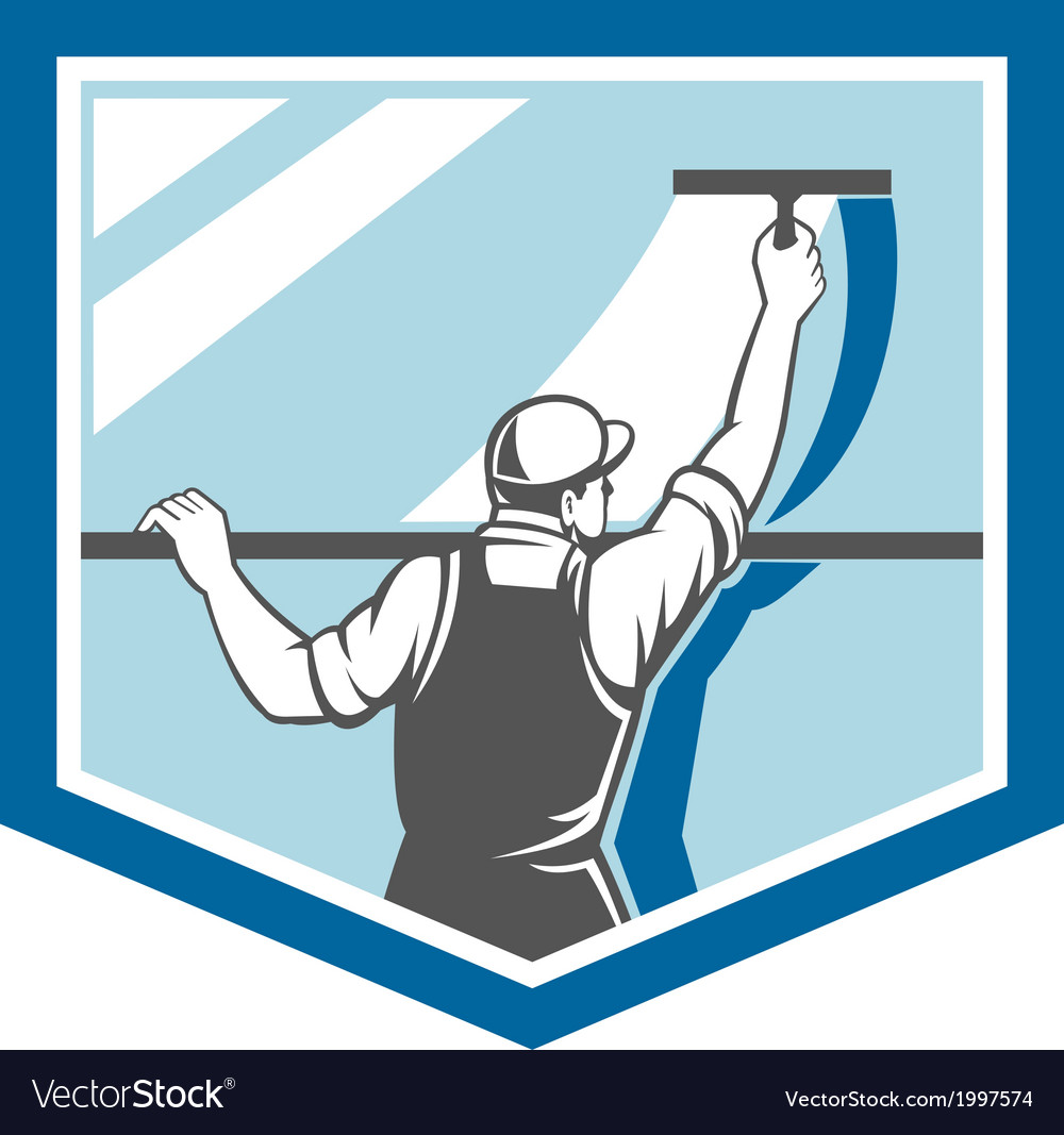 Window cleaner washer worker shield retro vector | Price: 1 Credit (USD $1)