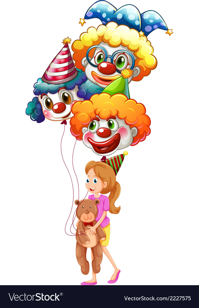 A young lady with clown balloons and a teddy bear vector | Price: 1 Credit (USD $1)