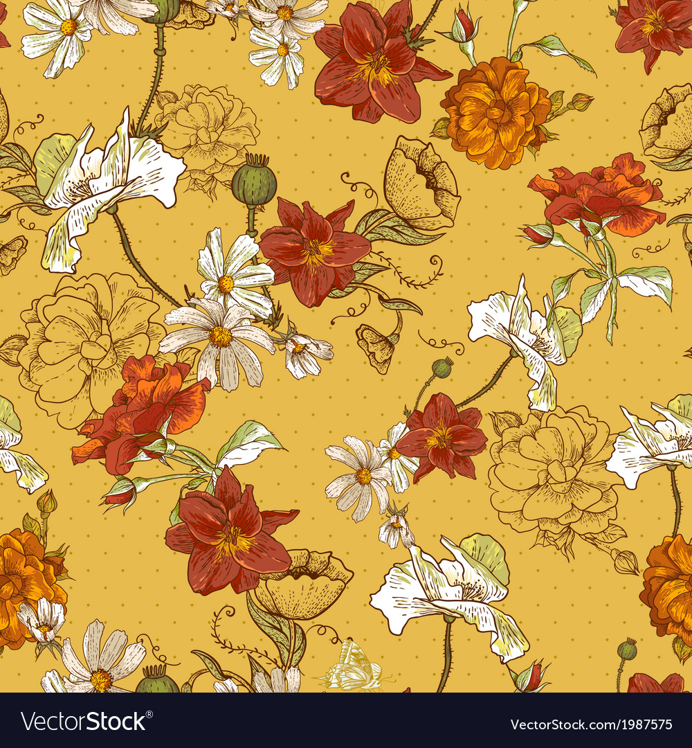 Beautiful seamless vintage floral background vector | Price: 1 Credit (USD $1)