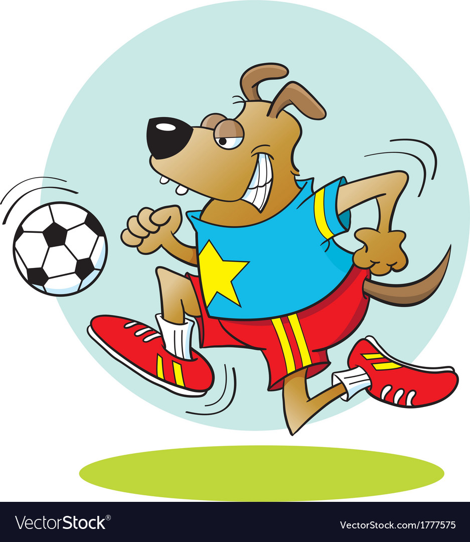 Cartoon dog playing soccer vector | Price: 1 Credit (USD $1)