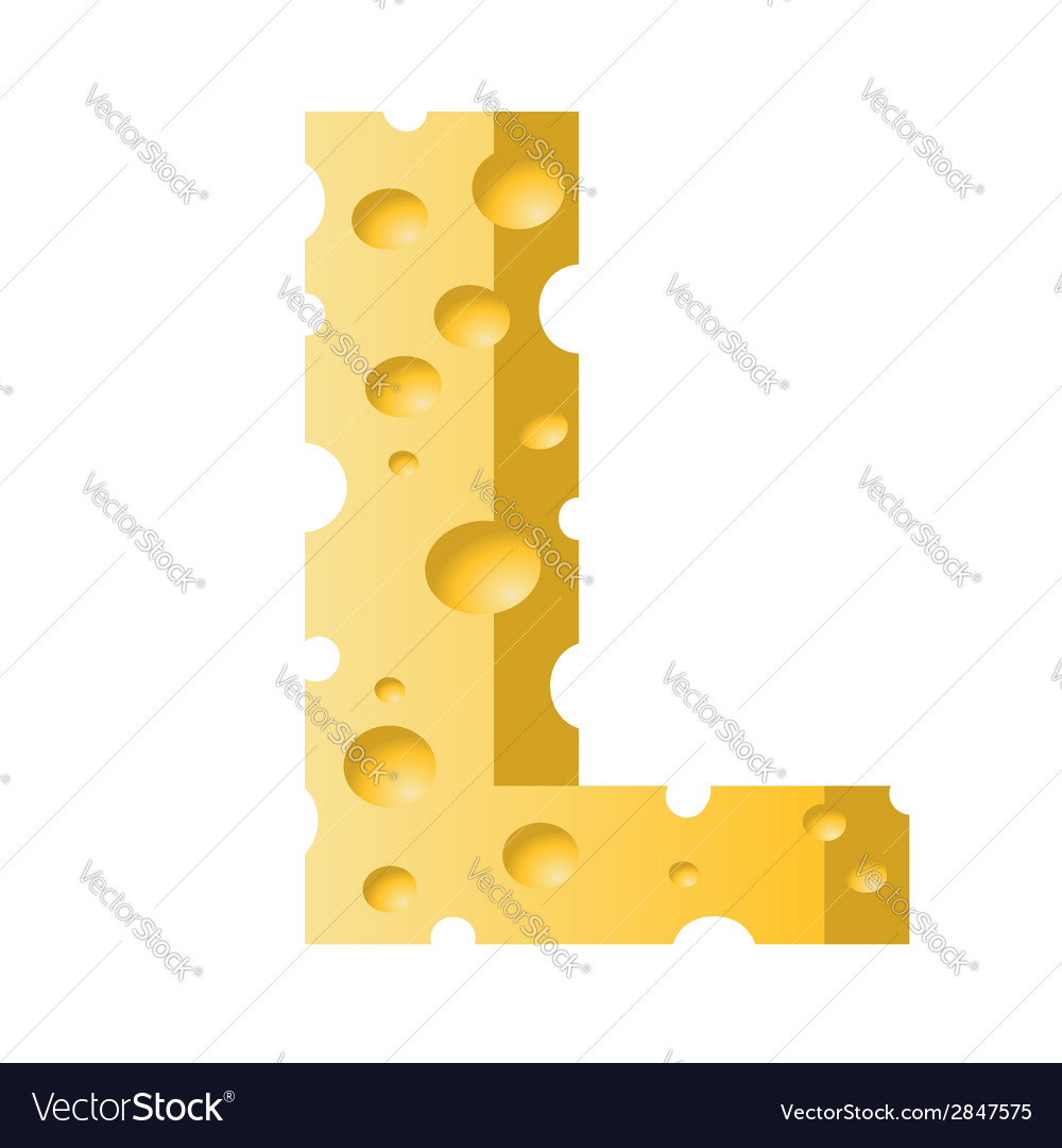 Cheese letter l vector | Price: 1 Credit (USD $1)