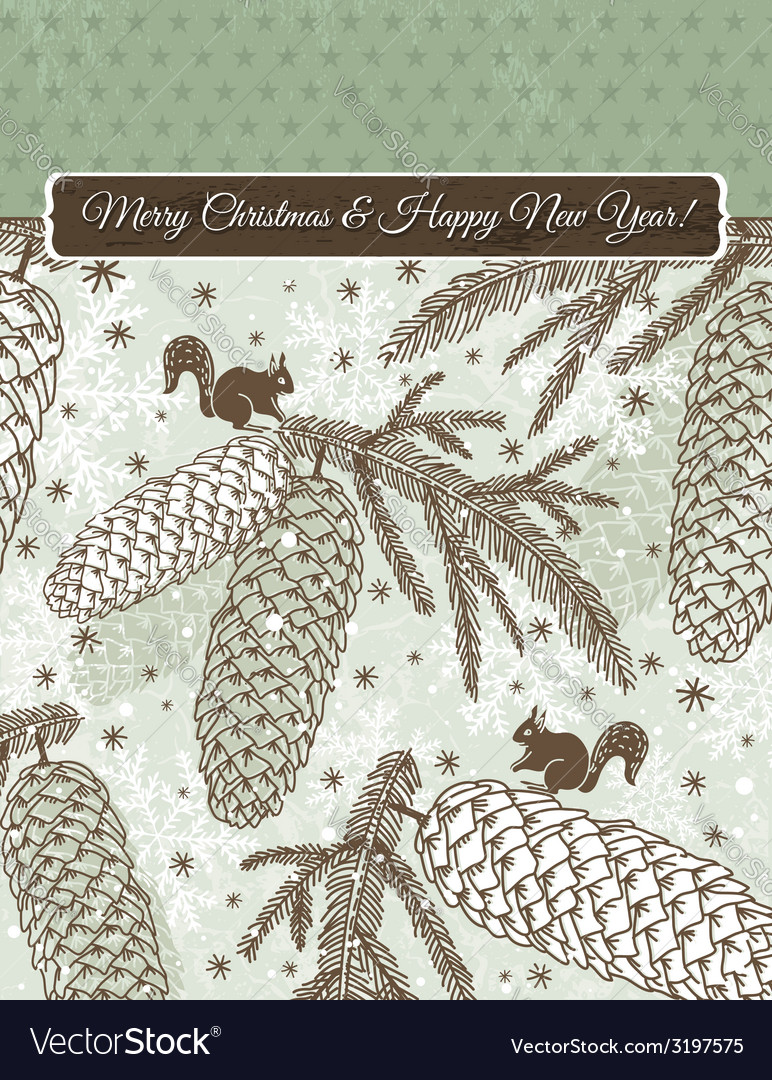 Christmas background with cone squirrel and snowfl vector   Price: 1 Credit (USD $1)