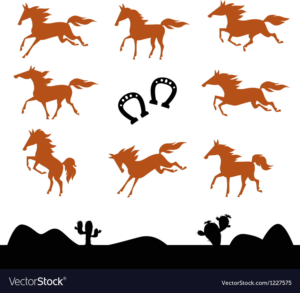 Collection silhouettes of horses vector | Price: 1 Credit (USD $1)