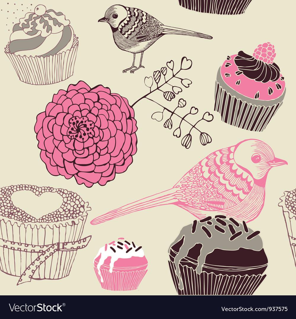 Cupcakes decorative pattern vector | Price: 1 Credit (USD $1)