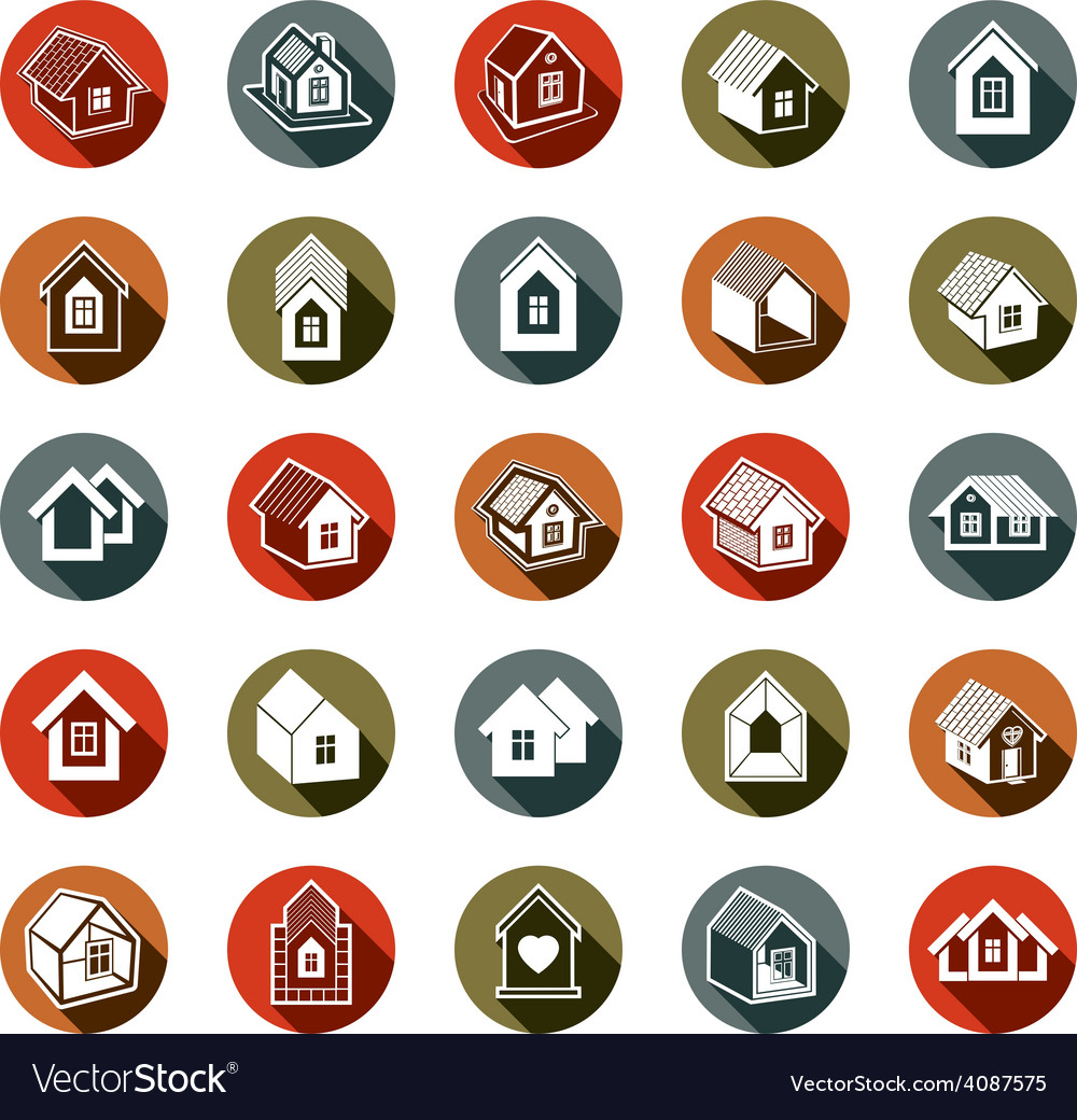 Houses abstract icons vector | Price: 1 Credit (USD $1)