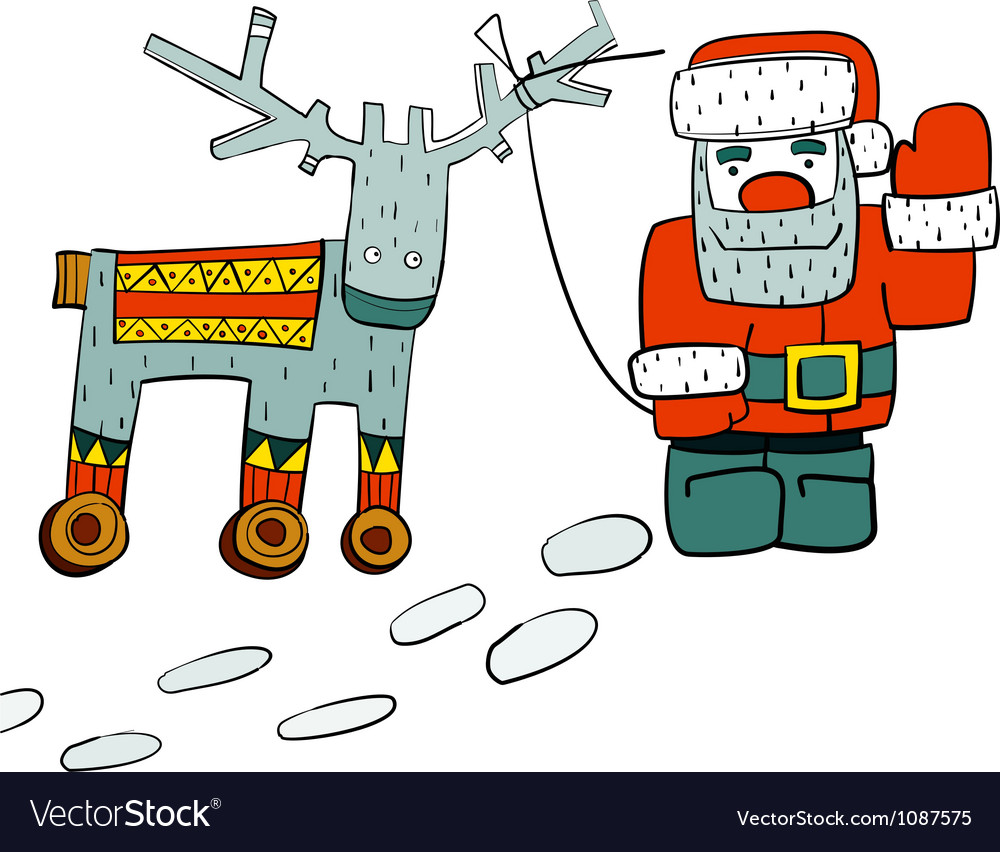 Humorous santa and reindeer on wheels vector | Price: 1 Credit (USD $1)