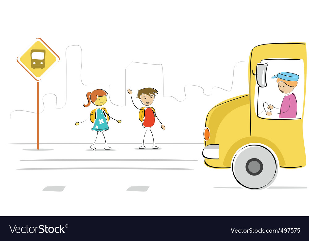 Kids at bus stop vector | Price: 1 Credit (USD $1)