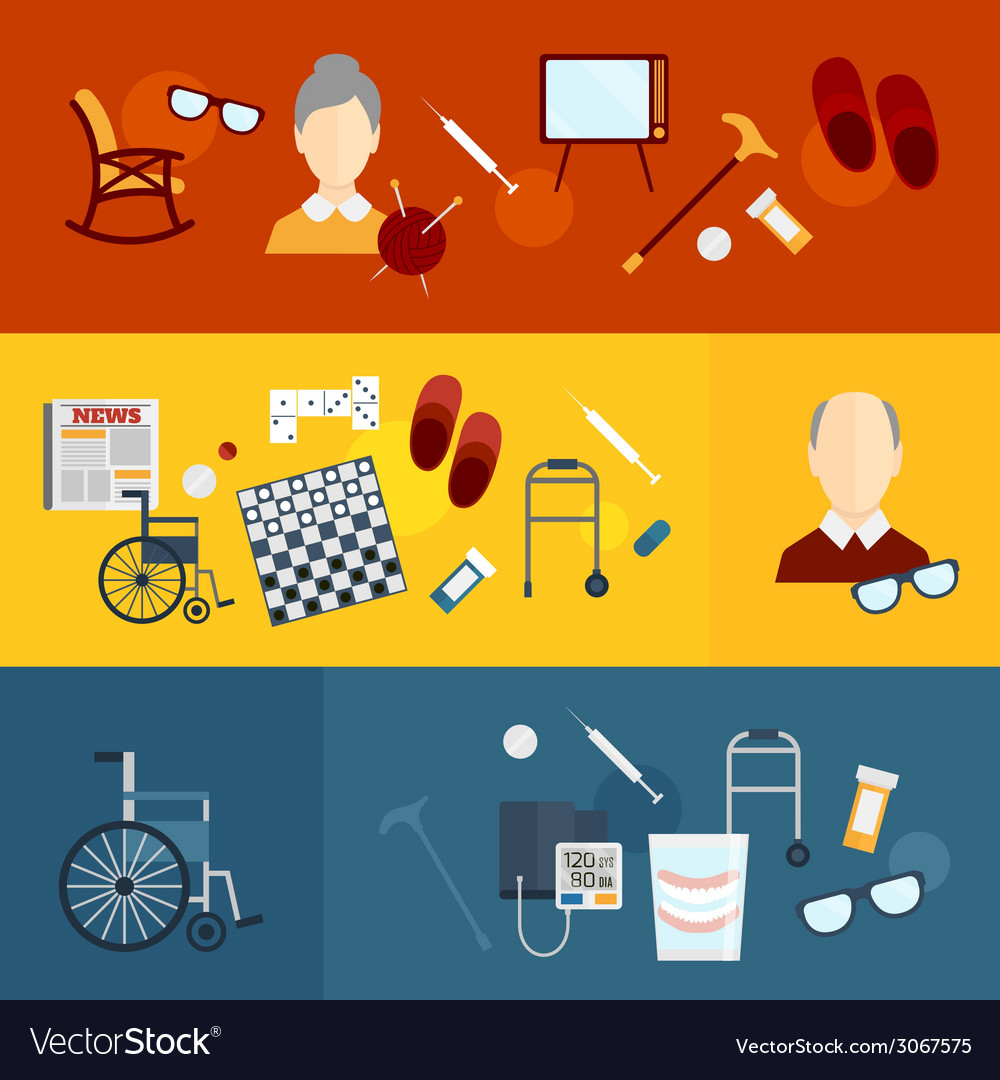 Pensioners life flat banners vector | Price: 1 Credit (USD $1)