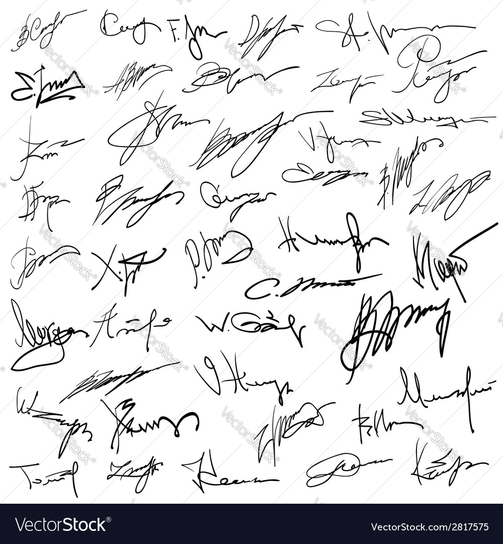 Set of autographs vector | Price: 1 Credit (USD $1)