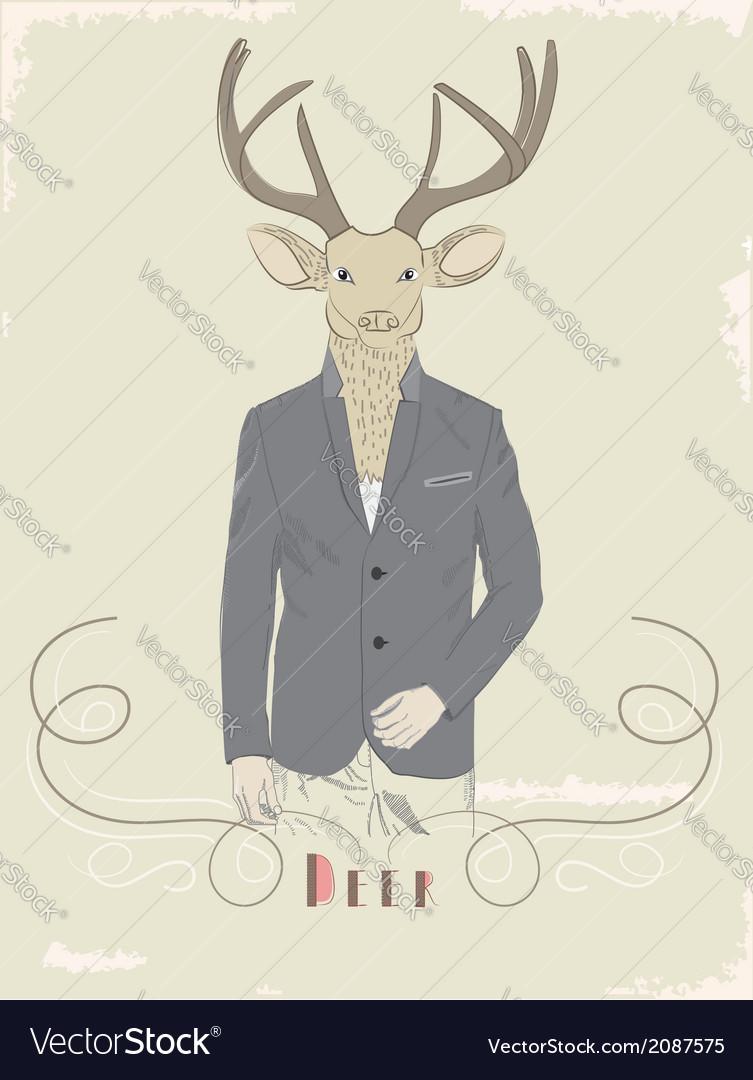Vintage of a deer in a suit vector | Price: 1 Credit (USD $1)
