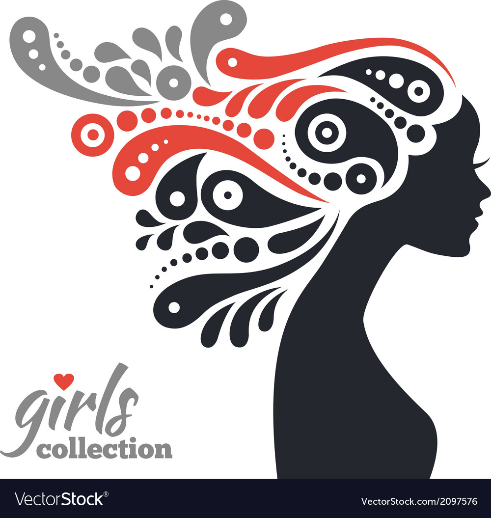 Beautiful woman silhouette with flowers vector   Price: 1 Credit (USD $1)