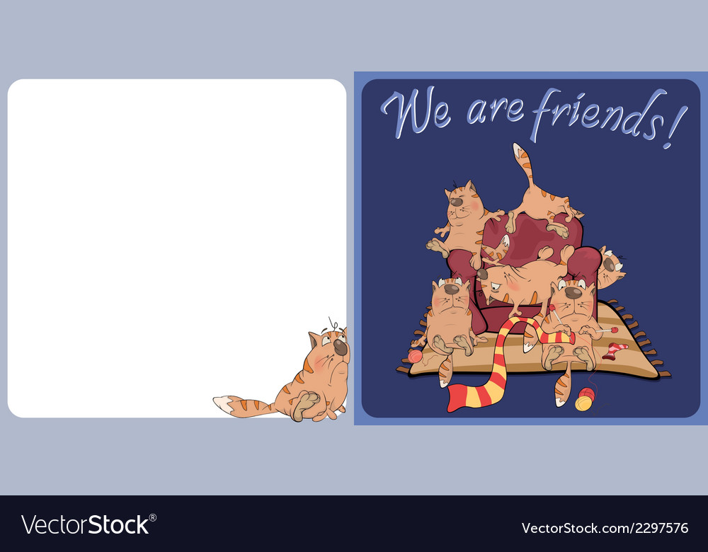 The big family of cats postcard vector | Price: 1 Credit (USD $1)
