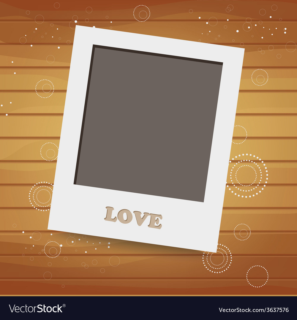 Blank instant photo on wood background vector | Price: 1 Credit (USD $1)