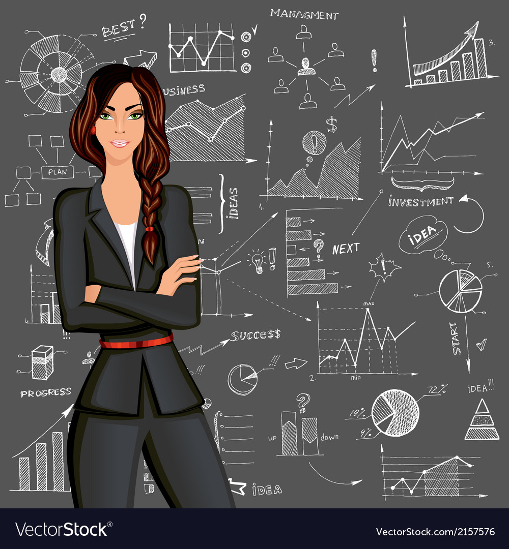 Business woman doodle background vector | Price: 1 Credit (USD $1)