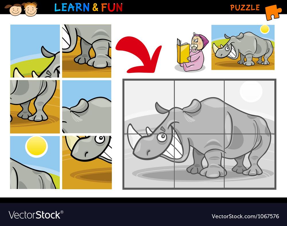 Cartoon rhinoceros puzzle game vector | Price: 3 Credit (USD $3)