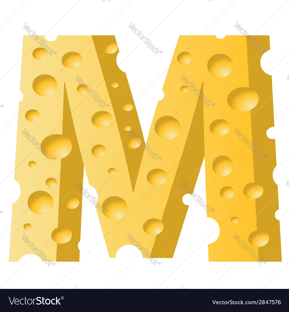 Cheese letter m vector | Price: 1 Credit (USD $1)