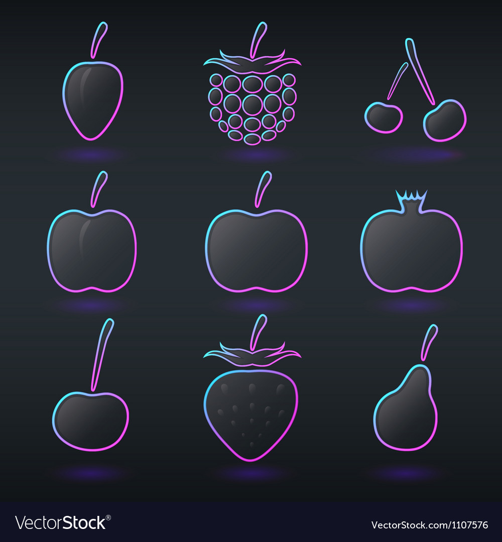 Fluorescent neon fruits icons vector | Price: 1 Credit (USD $1)