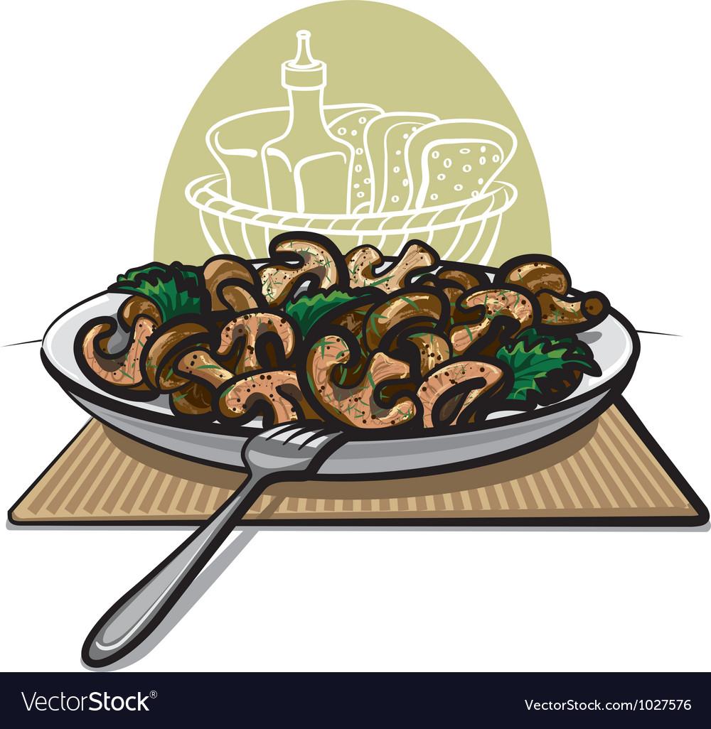 Fried mushrooms vector | Price: 3 Credit (USD $3)