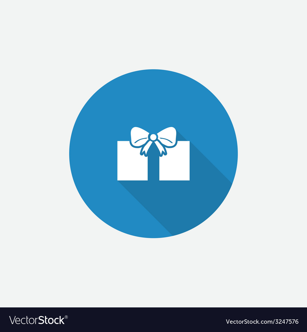 Gift flat blue simple icon with long shadow vector | Price: 1 Credit (USD $1)
