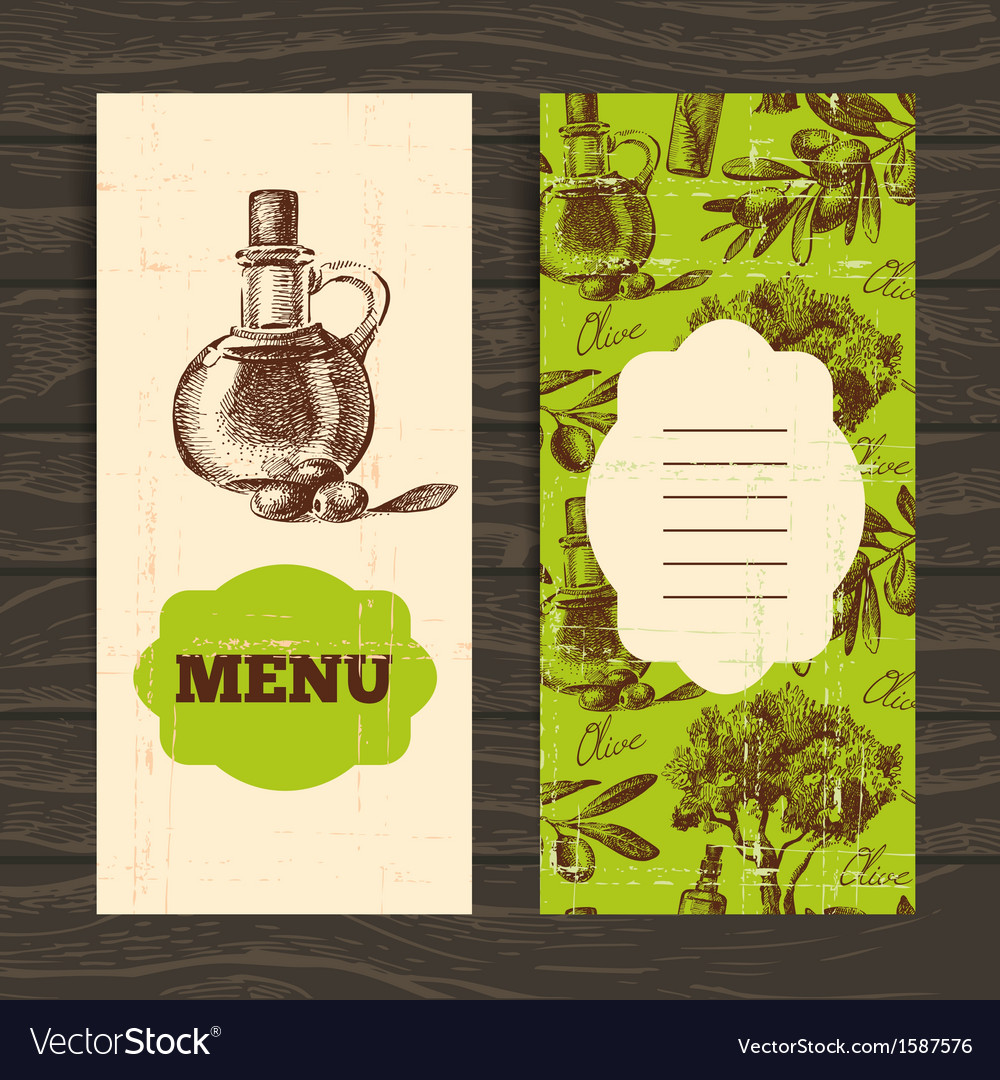 Hand drawn olive vintage background vector | Price: 1 Credit (USD $1)